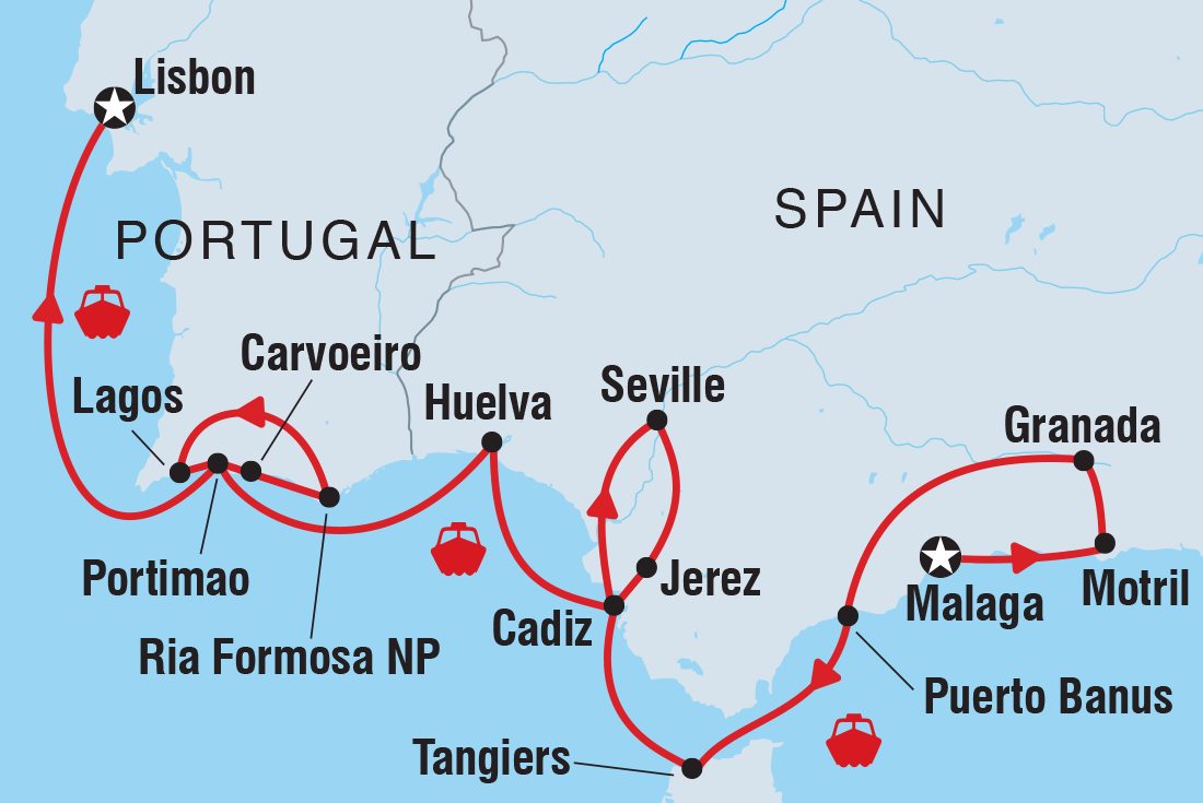Detailed Map Of Spain Portugal And Morocco.Cruising Spain Portugal And Morocco Lisbon To Malaga Trip Notes